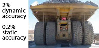 mining trucks on a weighbridge